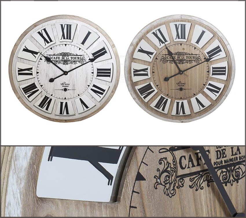 Orologio legno con specchio 2 modelli RE-158694 diam60 €89cad