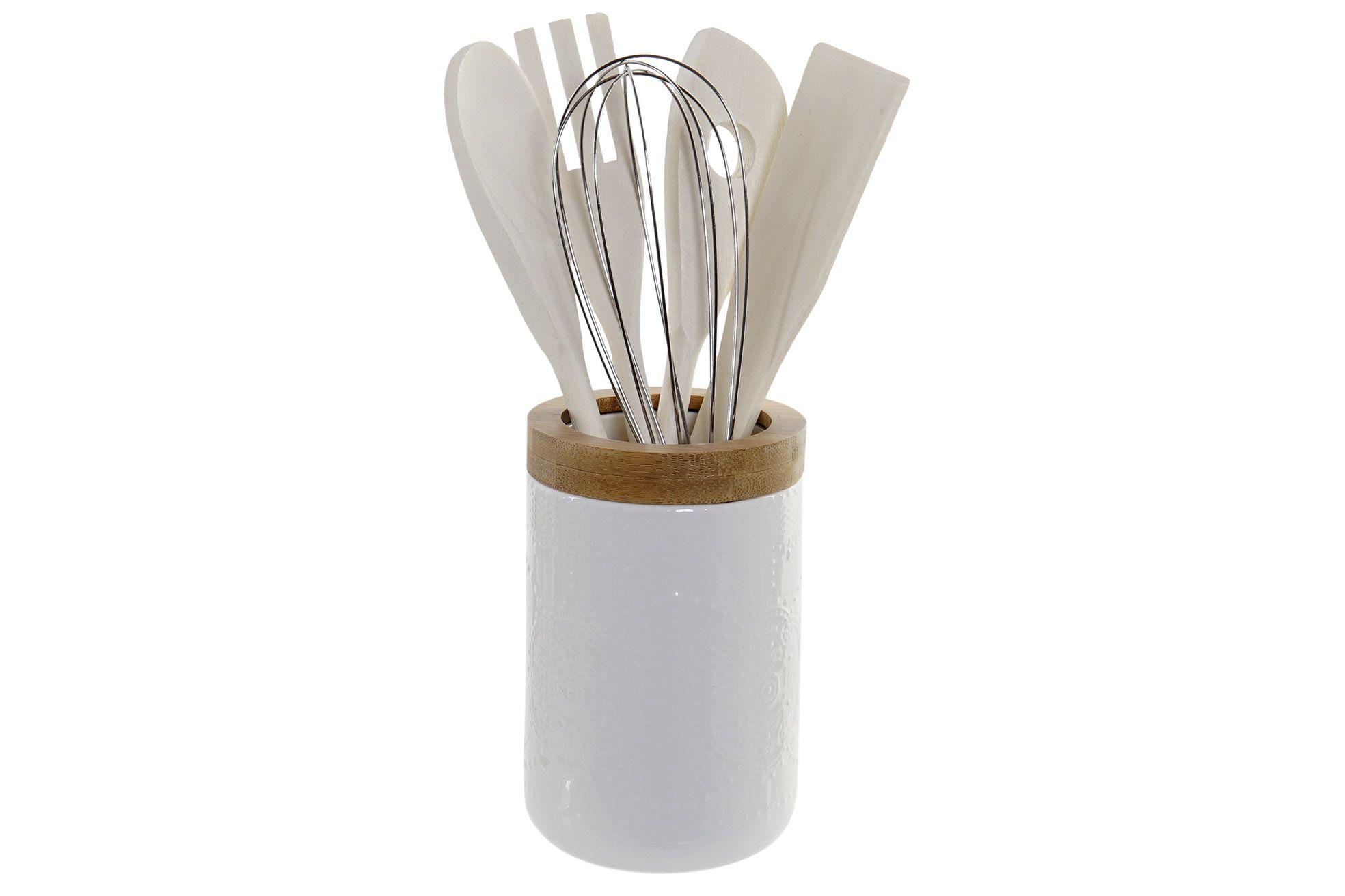Barattolo con utensili art LC-165153 legno e ceramica diam9x13h €17