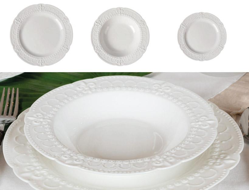 Servizio piatti Coccole di Casa linea Helena art IN0402 diam26cm 18pz 6posti tavola €199