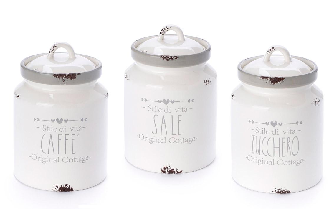 Barattolo ceramica Nuvole di Stoffa sale zucchero o caffé art DJC21001 diam12x17h €15