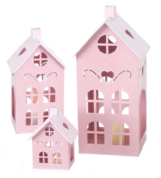 Lanterna casetta metallo rosa art 122003807A h40cm €39