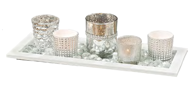 Vassoio con 5 porta tealight e pietre art 121001506 37x10x12h €27